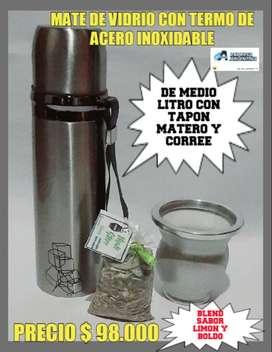MATE DE VIDRIO ARGENTINO con TERMO MATERO ACERO INOXIDABLE MEDIO LITRO con BLEND SABOR de REGALO !