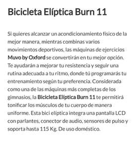 Bicicleta estacionaria elíptica