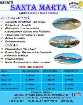 TOUR SANTA MARTA SALIDAS MES DE ENERO 2020