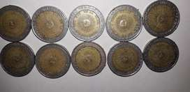 vendo 10 monedas de 1$ con error de ortografía