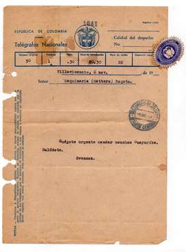 TELEGRAMA ANTIGUO 1940