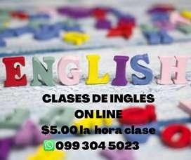 Clases de inglés $5.00 hora clase