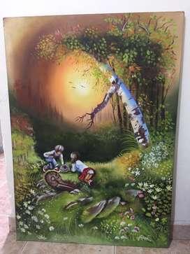 Cuadro decorativo en óleo de niños en un bosque