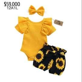 ropa para bebe niña mameluco amarillo, short de flores y balaca para niña bebé verano