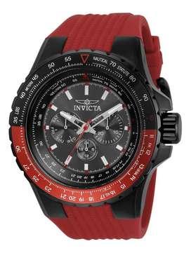 Reloj Invicta Aviator 33039 Silicona Roja Bisel Giratorio