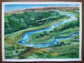 Acuarela rio cuadro decoración