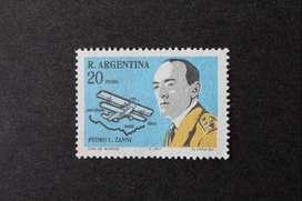 ESTAMPILLA ARGENTINA, 1967, SEMANA AERONÁUTICA, PEDRO ZANNI, AEROPLANO, MINT SIN GOMA