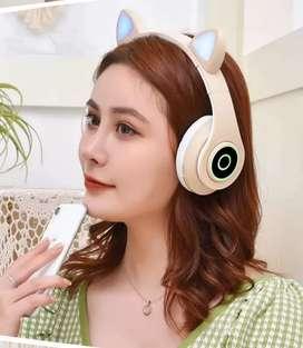 Auriculares con orejas de gato B39, estereo, plegables, con bluetooth, compatibles con  Android y IOS