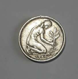 Moneda alemana de 50 pfennig, 1950 D