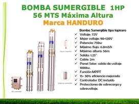 BOMBA SOLAR SUMERGIBLE MAX ALTURA 56MTS Marca HANDURO