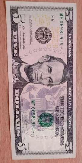 Billete de 5 dólares . reposición