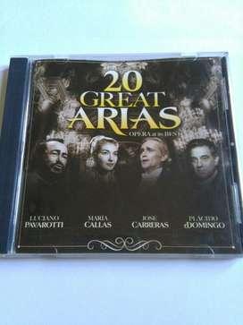 Cd 20 Great Arias Opera Maria Callas Placido Domingo Pavarotti Carrera