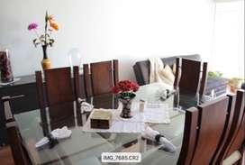 Comedor de 6 Puestos en Madera y  Vidrio para Tapizar