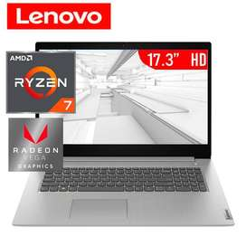 Vendo laptop Nueva Lenovo IdeaPad 3 (17) AMD Ryzen 7 3700U 2.3GHz, RAM 12GB, HDD 1TB+ Sólido SSD 128GB PCIe, LED,17.3""