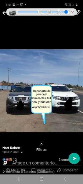 Transporte de personal en camionetas 4x4 Ancash y nivel nacional