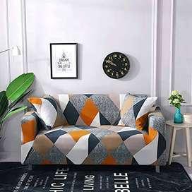 Funda protectora elástica para sofá + dos fundas de cojín (gris y naranja)