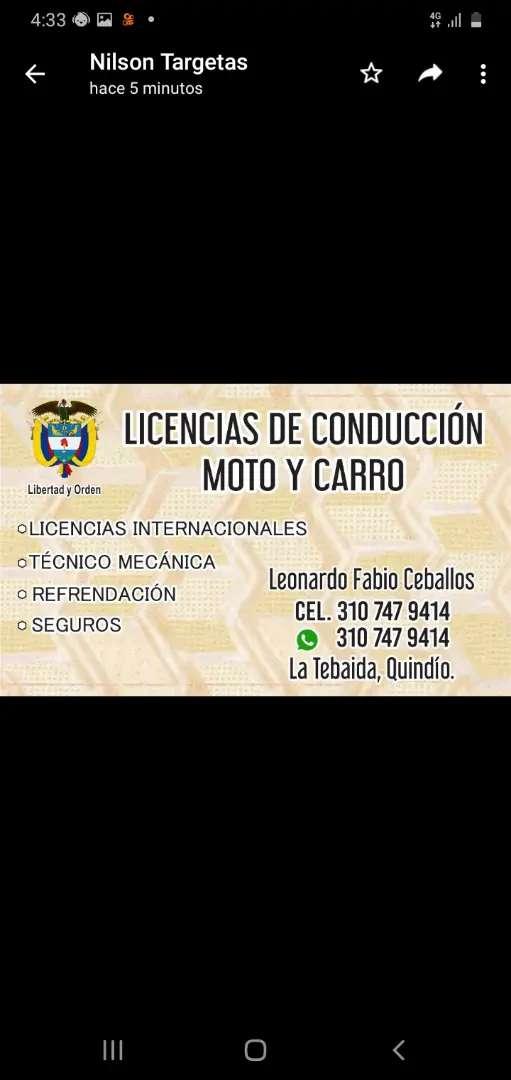 LICENCIAS DE CONDUCCION A2 B1.C1 0