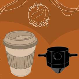 MUJU: vaso de bambú más filtro en micras para café e infusiones.
