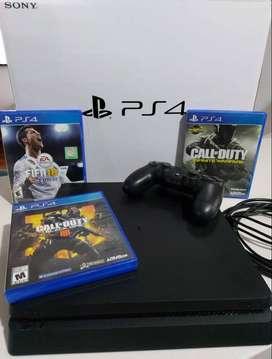 Consola PlayStation 4 Slim 1TB - 3 Juegos Físicos - 1 control - Poco uso - Negociable