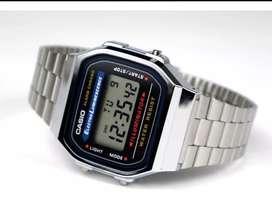 Reloj retro Casio a168 plateado - electroluminence