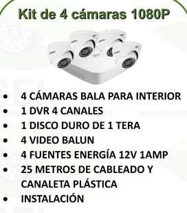 Kit de 4 cámaras de seguridad instaladas 1080P Full HD