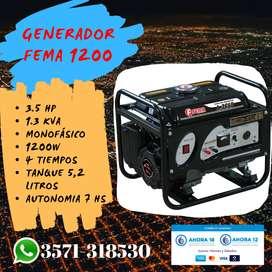 GENERADOR FEMA 1200 (W) 220V. 3.5 HP 1.3 KVA  4T 7HS DE AUTONOMÍA