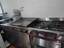 Cocina Industrial de 2.10 metros con horno pizzero freidora plancha bodega o alacena en acero inoxidable