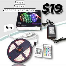 CINTA LED RGB WIFI 5M 5050  Impermeable Kit remoto funciona con Amazon, Alexa Google Home IFFFT DC 12V tira Flexible de