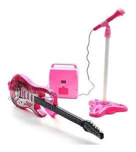 Guitarra Eléctrica Con Amplificador Micrófono Niñas