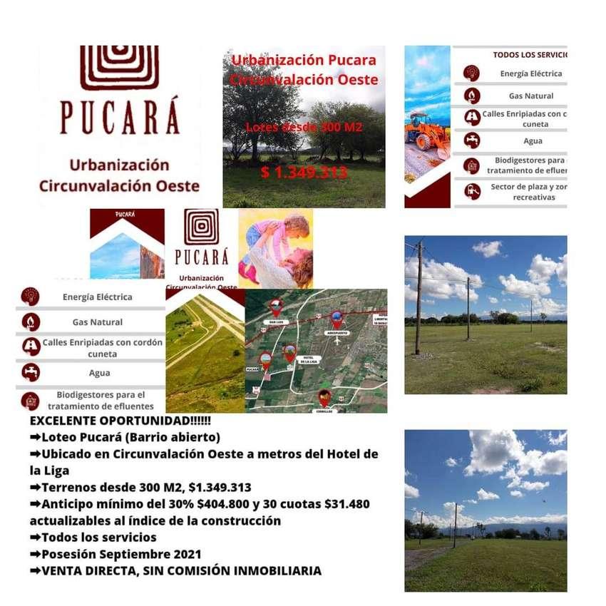 LOTEO PUCARA EN CIRCUNV. OESTE SALTA-POSESION SETIEMBRE 2021-FINANCIADO CON ANTICIPO Y CUOTAS CON TODOS LOS SERVICIOS-