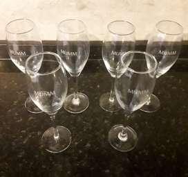 Juego De 6 Copas De Champagne Mumm, Merlo, Zona Oeste