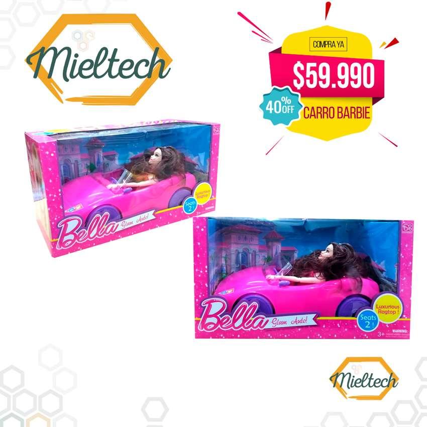 carro rosado de la barbie con muñeca convertible 0