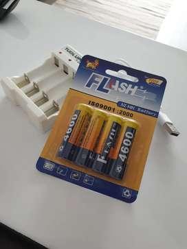 Baterías RECARGABLES AA 4600 mAh + cargador