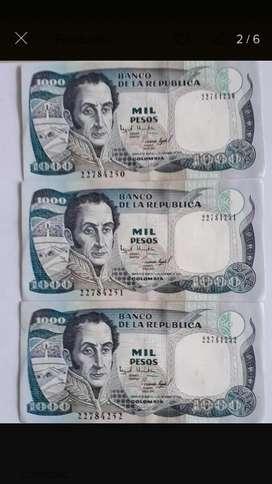 Billetes de 1000  Pesos Colombianos