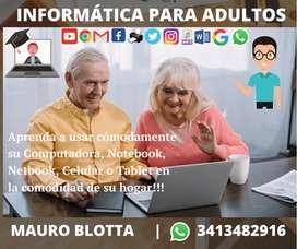PROMO!! Clases particulares de informática para adultos a domicilio - Uso de PC, Notebook, Celular, Tablet