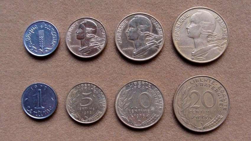 Monedas de 1, 5, 10 y 20 céntimos Francia 1962 - 1997 0