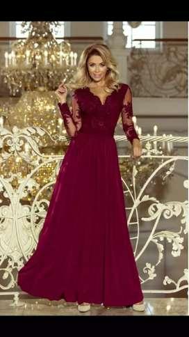 Vestido largo color vino