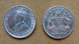 Moneda de 3 peniques de plata, Australia bajo Adm. Británica 1917