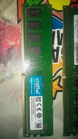 """Modulos de memoria RAM DDR4 de 4gb c/u a 2400mhz """"Usado"""""""