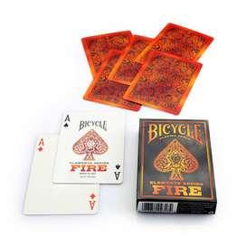 Cartas Bicycle Fire Fuego Baraja Llamas Devil Rojo Naranja