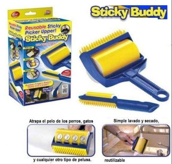 Quita Motas Sticky Roller Buddy 3en1 Mascotas Tapetes Ropa 0
