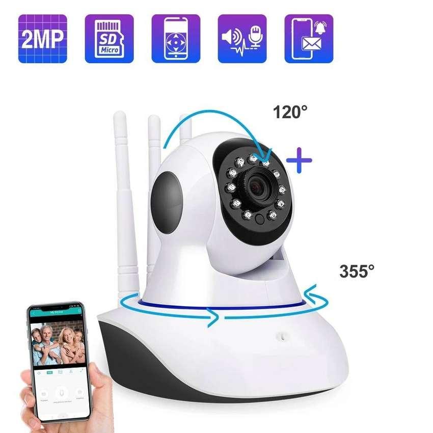 Cámara Robótica 360° Wifi IP 3 Antenas Full HD Día / Noche Monitoreo Tiempo Real Smartphone Tablet 0