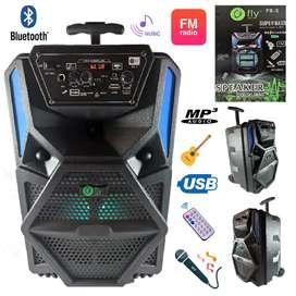 Cabina sonido 500w,portátil+micrófono+control remoto.8 pulgadas