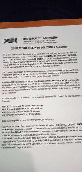 Se vende lote de 200 M2 con cerramiento y casa   17000 negociable  Ubicación: Santo Domingo- Coopera