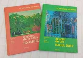 2 libros El arte para los niños Rosseau + Raoul Dufy