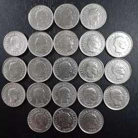 Vendo lote de 21 monedas de 10 centavos de Colombia desde 1969 hasta 1978