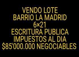 Vendo Lote Barrio La Madrid