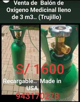 Vendo Balón de oxigeno medicinal de 3m3 americano (lleno)
