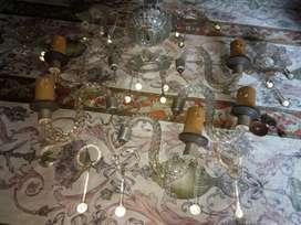 Araña Antigua de 5 Luces con Sus Caireles