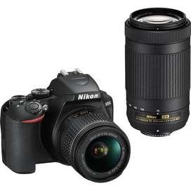 Nikon Reflex D3500 Doble Kit 18-55mm Vr 70-300mm Af P Nueva